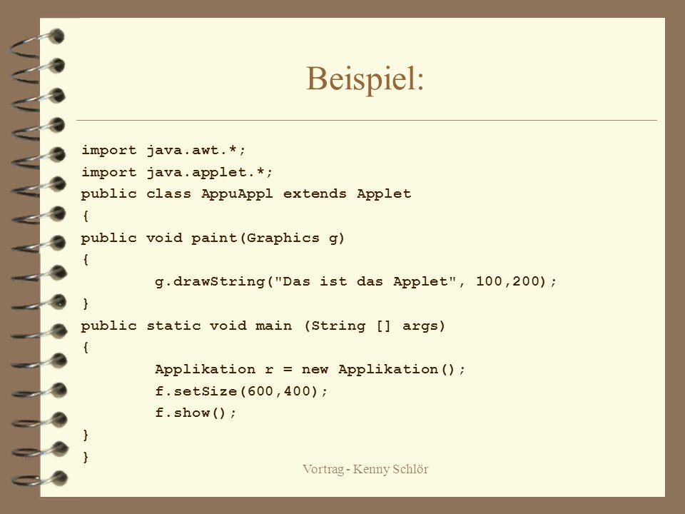 Vortrag - Kenny Schlör HTML-Tags &Appletviewer HTML-Tagst – und ist beliebig wählbar und steht im Kopf der Webseite. –Das Wort gibt die Sendung eines