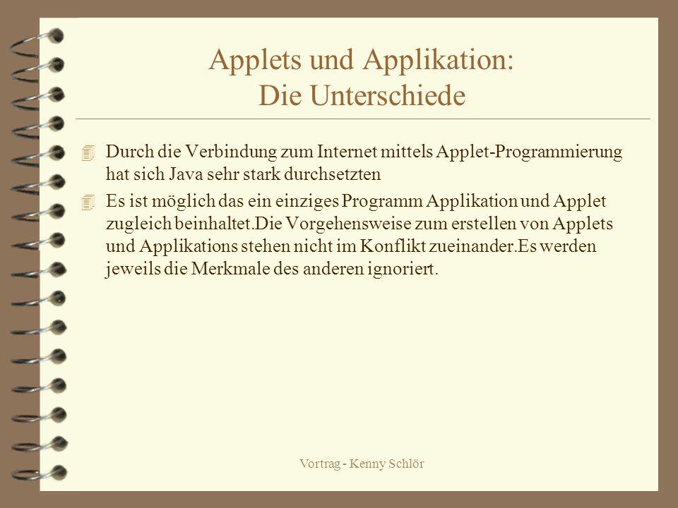 Vortrag - Kenny Schlör Info-Methoden der Klasse Applet Die Methode getAppletInfo() ist eine Möglichkeit Informationen über das Applet zur Verfügung zu stellen.