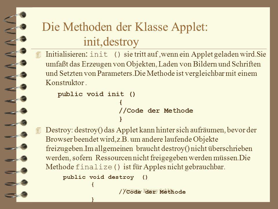Vortrag - Kenny Schlör Die Methoden der Klasse Applet: init,destroy Initialisieren : init () sie tritt auf,wenn ein Applet geladen wird.Sie umfaßt das Erzeugen von Objekten, Laden von Bildern und Schriften und Setzten von Parameters.Die Methode ist vergleichbar mit einem Konstruktor.