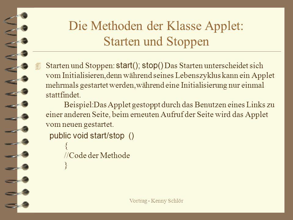 Vortrag - Kenny Schlör Die Methoden der Klasse Applet: init,destroy Initialisieren : init () sie tritt auf,wenn ein Applet geladen wird.Sie umfaßt das