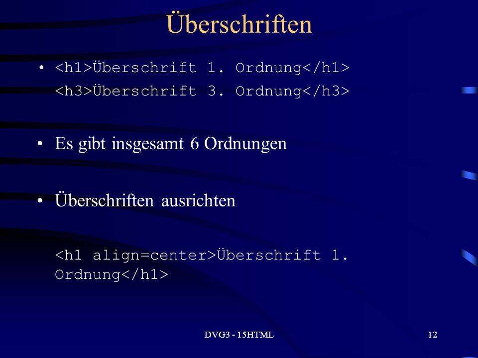 DVG3 - 15HTML12 Überschriften Überschrift 1. Ordnung Überschrift 3.
