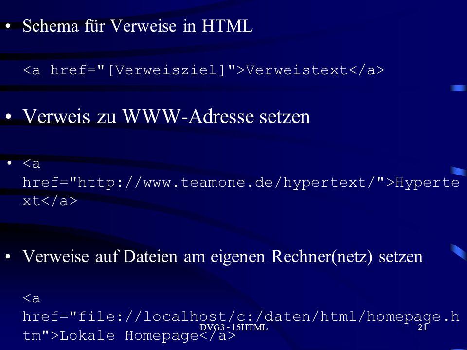 DVG3 - 15HTML21 Schema für Verweise in HTML Verweistext Verweis zu WWW-Adresse setzen Hyperte xt Verweise auf Dateien am eigenen Rechner(netz) setzen Lokale Homepage