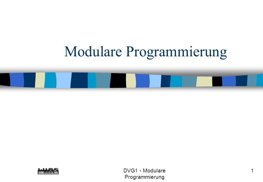 DVG1 - Modulare Programmierung 2 Beispiel Schreiben Sie ein Programm, das eine Tabelle erzeugt, die für i=1,7,49,...<1000000000 die Werte i, sqrt(i) und ( double)i*i enthält.