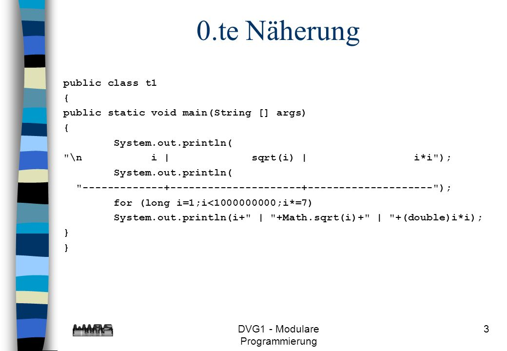 DVG1 - Modulare Programmierung 4 Ergebnis der 0.ten Näherung i   sqrt(i)   i*i -------------+---------------------+-------------------- 1   1.0   1.0 7   2.6457513110645907   49.0 49   7.0   2401.0 343   18.520259177452136   117649.0 2401   49.0   5764801.0 16807   129.64181424216494   2.82475249E8 117649   343.0   1.3841287201E10 823543   907.4926996951546   6.78223072849E11 5764801   2401.0   3.3232930569601E13 40353607   6352.448897866082   1.628413597910449E15 282475249   16807.0   7.9792266297612E16
