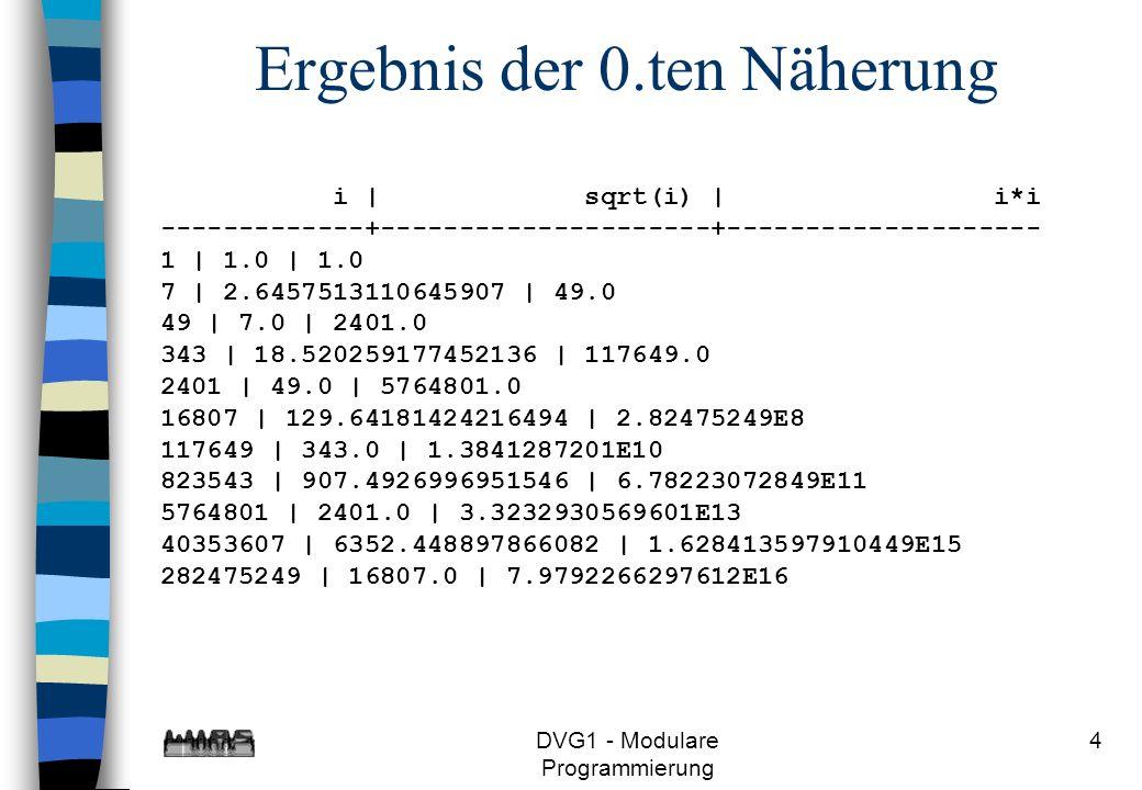 DVG1 - Modulare Programmierung 15 false return s; Fehlerbehandlung >l links auffüllen <l return null; true l <= 0 Blockdiagramm - 2.Version String s = Long.toString(z); s.length() =l long z, int l