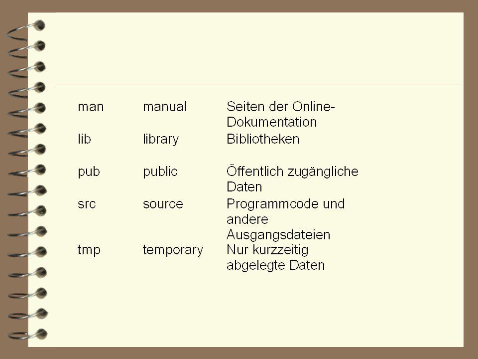 Mounten : Es gibt unter UNIX keine wie in Windows bekannten Laufwerke ( a:\, c:\,d:\).
