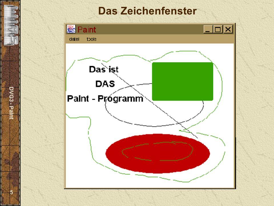 DVG3 - Paint 6 Öffnen eines Fensters Klasse Frame java.lang.Object java.awt.Component java.awt.Container java.awt.Window java.awt.Frame Konstruktor Frame() Frame(String title) Größe und Position festlegen setBounds (int x, int y, int width, int height) (aus Component ) sichtbar/unsichtbar machen setVisible (boolean b) (aus Component ) Titel ändern setTitle(String title) Standardfarben definieren setBackground(Color c), setForeground(Color c) (aus Component ) Standardfont definieren setFont(Font f) (aus Container )