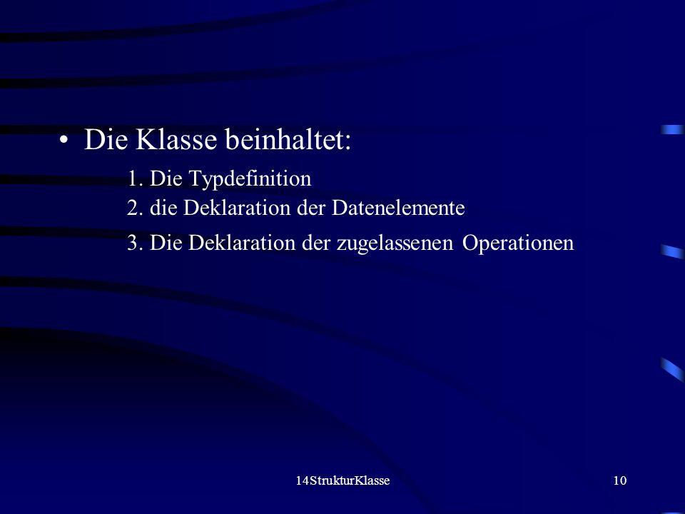 14StrukturKlasse10 Die Klasse beinhaltet: 1. Die Typdefinition 2. die Deklaration der Datenelemente 3. Die Deklaration der zugelassenen Operationen