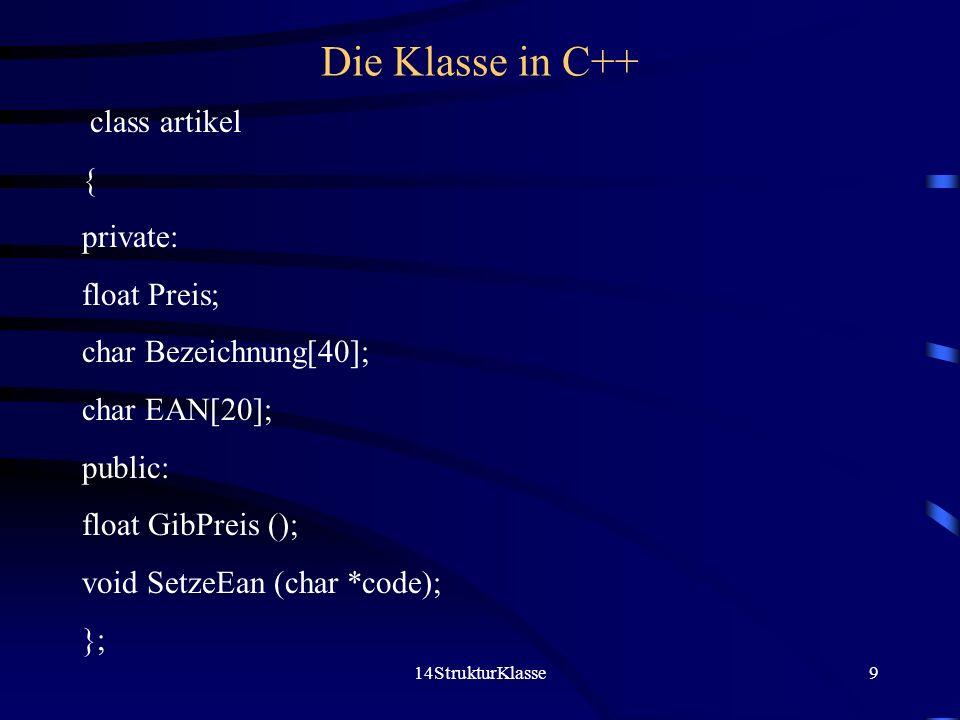 14StrukturKlasse9 Die Klasse in C++ class artikel { private: float Preis; char Bezeichnung[40]; char EAN[20]; public: float GibPreis (); void SetzeEan