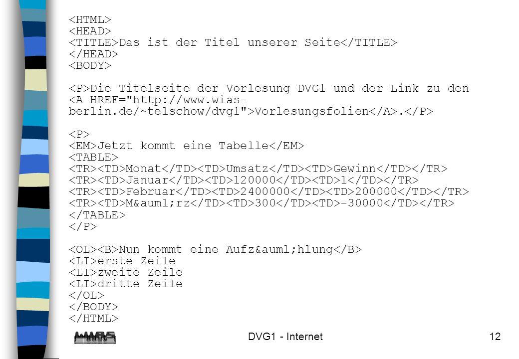 DVG1 - Internet12 Das ist der Titel unserer Seite Die Titelseite der Vorlesung DVG1 und der Link zu den Vorlesungsfolien. Jetzt kommt eine Tabelle Mon