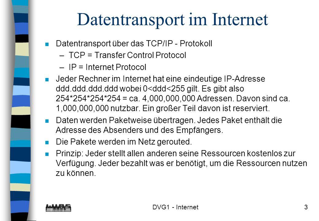 3 Datentransport im Internet n Datentransport über das TCP/IP - Protokoll –TCP = Transfer Control Protocol –IP = Internet Protocol n Jeder Rechner im