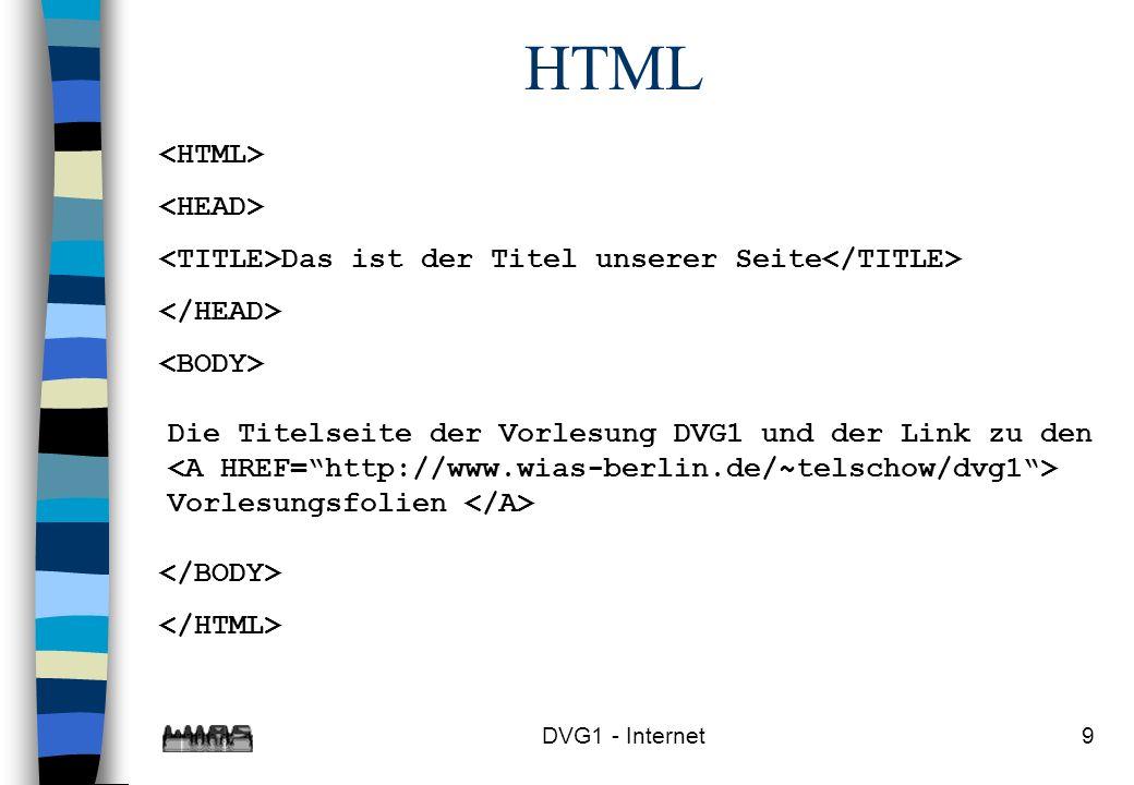 DVG1 - Internet9 HTML Das ist der Titel unserer Seite Die Titelseite der Vorlesung DVG1 und der Link zu den Vorlesungsfolien