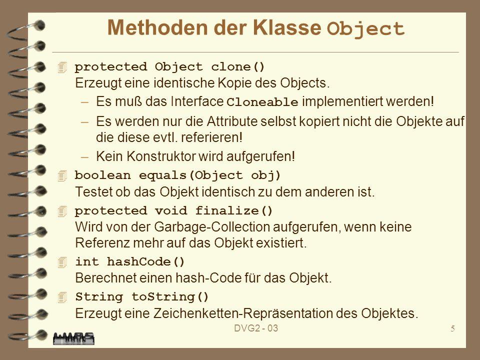 DVG2 - 035 Methoden der Klasse Object protected Object clone() Erzeugt eine identische Kopie des Objects. –Es muß das Interface Cloneable implementier