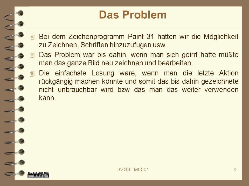DVG3 - Mh0013 Das Problem 4 Bei dem Zeichenprogramm Paint 31 hatten wir die Möglichkeit zu Zeichnen, Schriften hinzuzufügen usw.