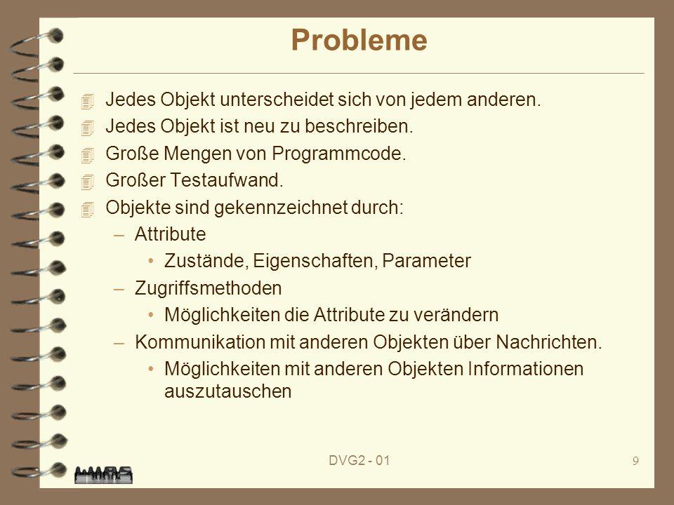 DVG2 - 019 Probleme 4 Jedes Objekt unterscheidet sich von jedem anderen. 4 Jedes Objekt ist neu zu beschreiben. 4 Große Mengen von Programmcode. 4 Gro