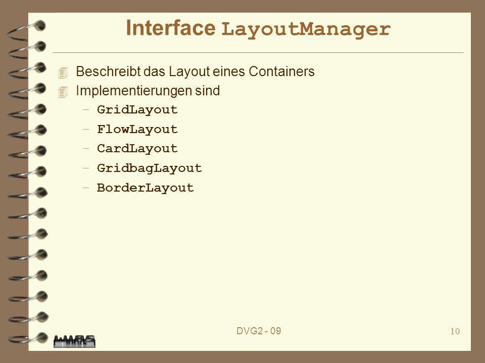 DVG2 - 0910 Interface LayoutManager 4 Beschreibt das Layout eines Containers 4 Implementierungen sind –GridLayout –FlowLayout –CardLayout –GridbagLayo