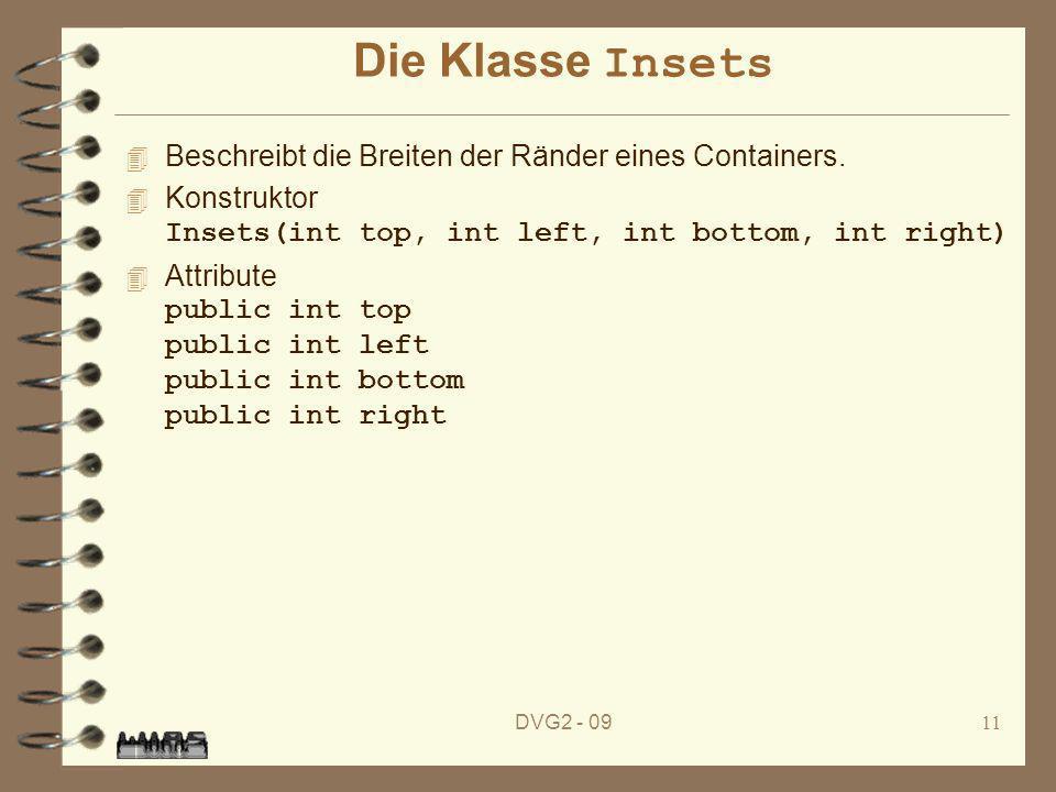 DVG2 - 0911 Die Klasse Insets 4 Beschreibt die Breiten der Ränder eines Containers. Konstruktor Insets(int top, int left, int bottom, int right) Attri