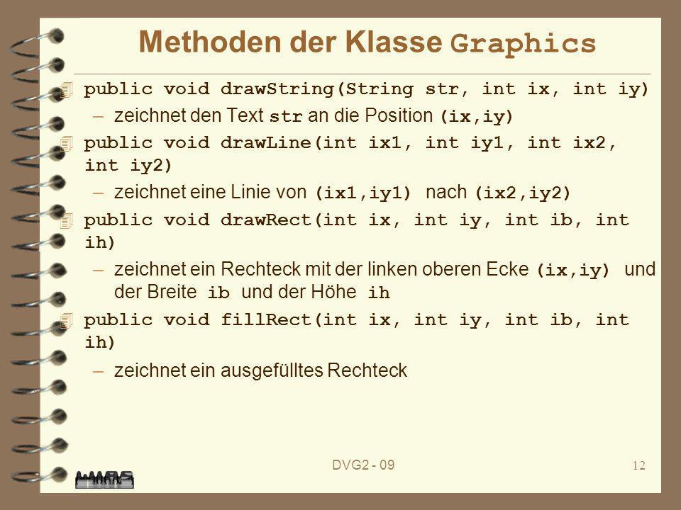 DVG2 - 0912 Methoden der Klasse Graphics 4 public void drawString(String str, int ix, int iy) –zeichnet den Text str an die Position (ix,iy) 4 public