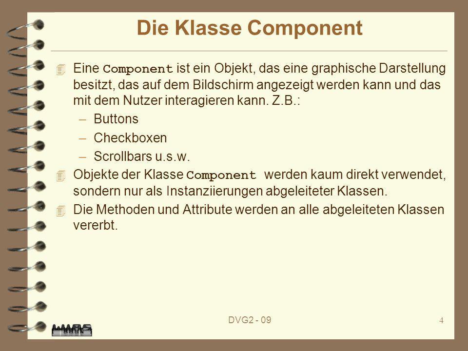 DVG2 - 094 Die Klasse Component Eine Component ist ein Objekt, das eine graphische Darstellung besitzt, das auf dem Bildschirm angezeigt werden kann u