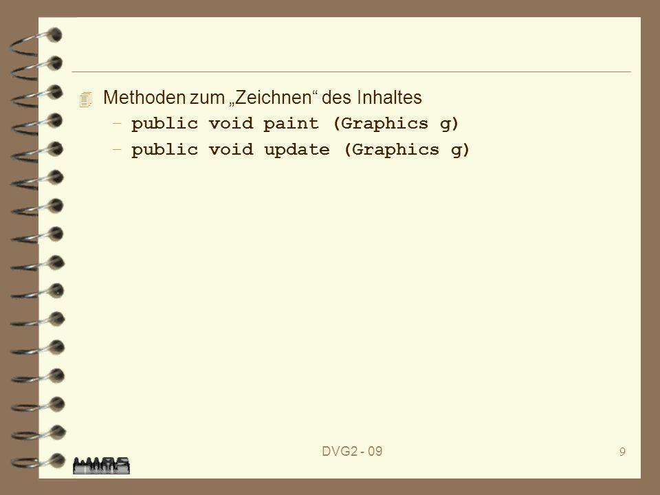DVG2 - 099 4 Methoden zum Zeichnen des Inhaltes –public void paint (Graphics g) –public void update (Graphics g)