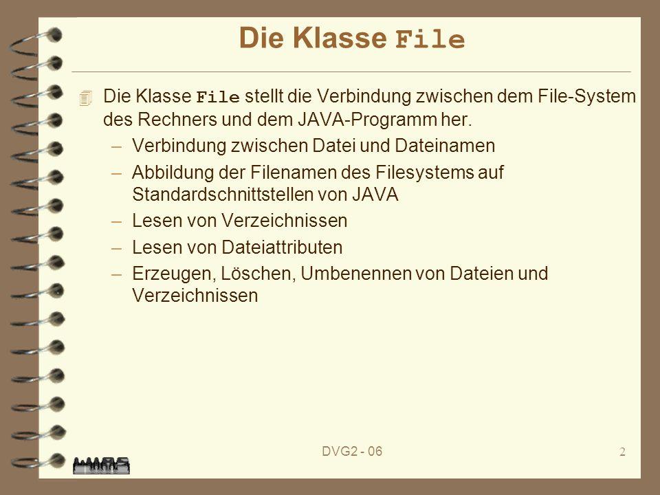 DVG2 - 062 Die Klasse File Die Klasse File stellt die Verbindung zwischen dem File-System des Rechners und dem JAVA-Programm her.