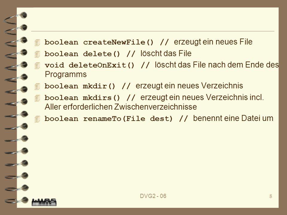 DVG2 - 068 boolean createNewFile() // erzeugt ein neues File boolean delete() // löscht das File void deleteOnExit() // löscht das File nach dem Ende des Programms boolean mkdir() // erzeugt ein neues Verzeichnis boolean mkdirs() // erzeugt ein neues Verzeichnis incl.