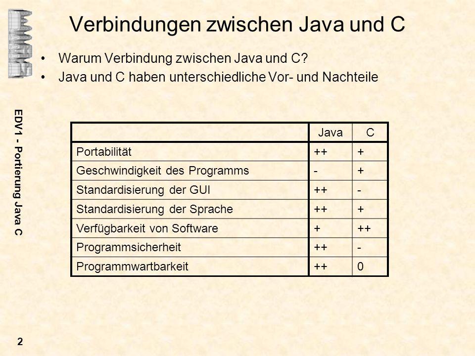 EDV1 - Portierung Java C 2 Verbindungen zwischen Java und C Warum Verbindung zwischen Java und C? Java und C haben unterschiedliche Vor- und Nachteile