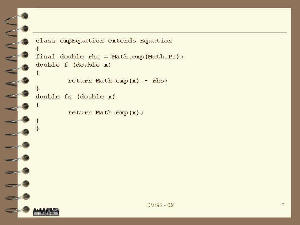 DVG2 - 028 4 Die Klasse expEquation ist nicht mehr abstrakt.