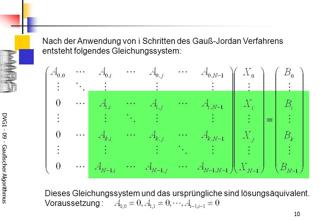 DVG1 - 09 - Gaußscher Algorithmus 10 Nach der Anwendung von i Schritten des Gauß-Jordan Verfahrens entsteht folgendes Gleichungssystem: Dieses Gleichungssystem und das ursprüngliche sind lösungsäquivalent.