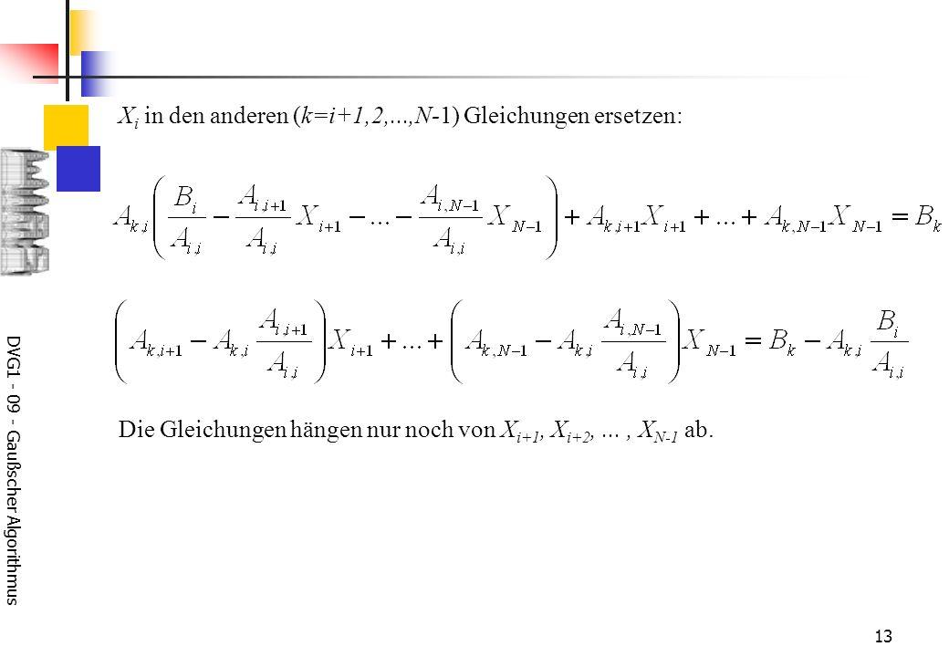 DVG1 - 09 - Gaußscher Algorithmus 13 X i in den anderen (k=i+1,2,...,N-1) Gleichungen ersetzen: Die Gleichungen hängen nur noch von X i+1, X i+2,..., X N-1 ab.