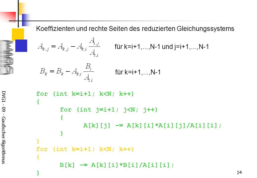 DVG1 - 09 - Gaußscher Algorithmus 14 for (int k=i+1; k<N; k++) { for (int j=i+1; j<N; j++) { A[k][j] -= A[k][i]*A[i][j]/A[i][i]; } } for (int k=i+1; k<N; k++) { B[k] -= A[k][i]*B[i]/A[i][i]; } für k=i+1,...,N-1 und j=i+1,...,N-1 für k=i+1,...,N-1 Koeffizienten und rechte Seiten des reduzierten Gleichungssystems