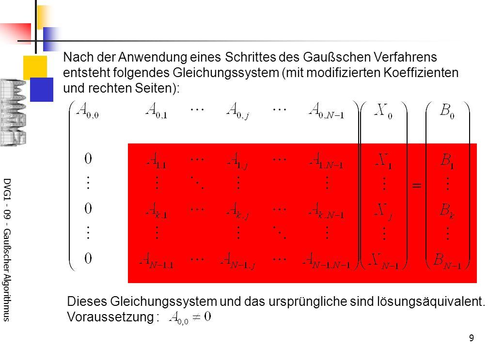 DVG1 - 09 - Gaußscher Algorithmus 9 Nach der Anwendung eines Schrittes des Gaußschen Verfahrens entsteht folgendes Gleichungssystem (mit modifizierten Koeffizienten und rechten Seiten): Dieses Gleichungssystem und das ursprüngliche sind lösungsäquivalent.