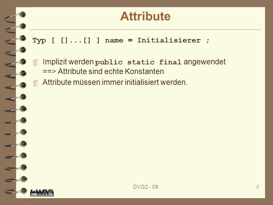 DVG2 - 086 Methoden Typ Name ( [formaleParameterliste] ) [ []...[] ] [throws Ausnahme,...,Ausnahme] ; Methoden sind immer public abstract ==> keine Implementation
