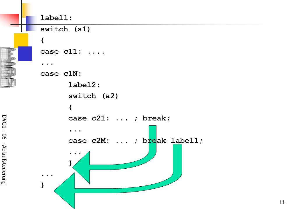 DVG1 - 06 - Ablaufsteuerung 11 label1: switch (a1) { case c11:....... case c1N: label2: switch (a2) { case c21:... ; break;... case c2M:... ; break la