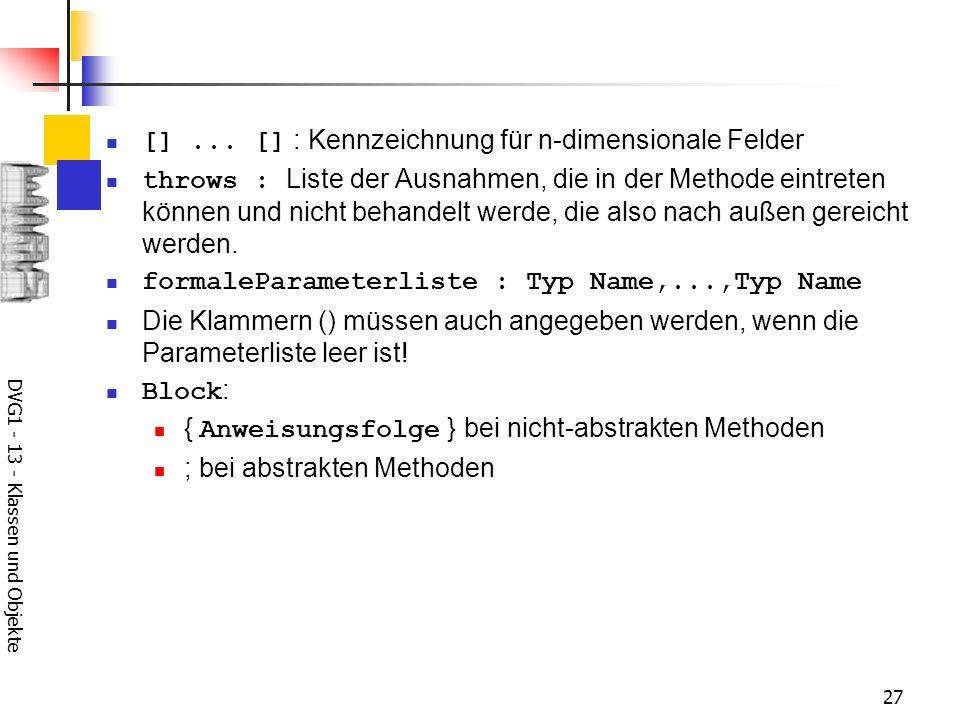 DVG1 - 13 - Klassen und Objekte 27 []...