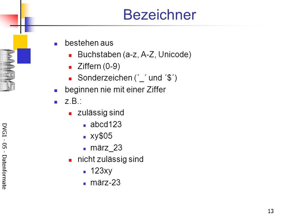 DVG1 - 05 - Datenformate 13 Bezeichner bestehen aus Buchstaben (a-z, A-Z, Unicode) Ziffern (0-9) Sonderzeichen (´_´ und ´$´) beginnen nie mit einer Zi