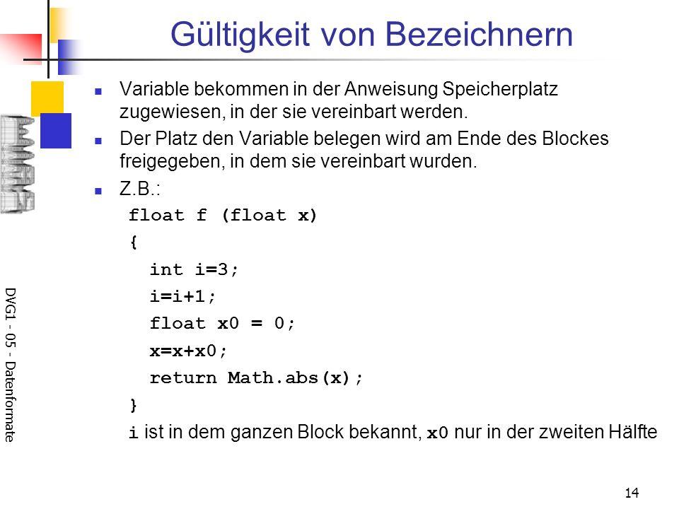DVG1 - 05 - Datenformate 14 Gültigkeit von Bezeichnern Variable bekommen in der Anweisung Speicherplatz zugewiesen, in der sie vereinbart werden. Der