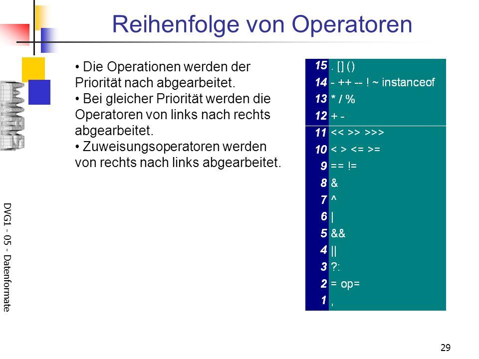 DVG1 - 05 - Datenformate 29 Reihenfolge von Operatoren Die Operationen werden der Priorität nach abgearbeitet. Bei gleicher Priorität werden die Opera