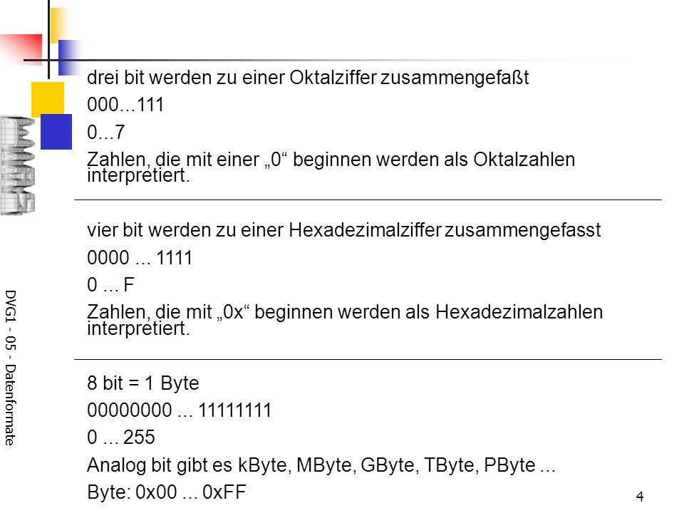 DVG1 - 05 - Datenformate 4 drei bit werden zu einer Oktalziffer zusammengefaßt 000...111 0...7 Zahlen, die mit einer 0 beginnen werden als Oktalzahlen