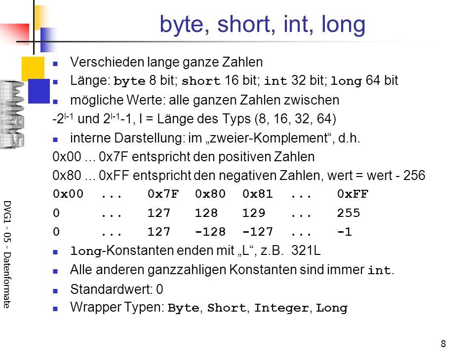 DVG1 - 05 - Datenformate 8 byte, short, int, long Verschieden lange ganze Zahlen Länge: byte 8 bit; short 16 bit; int 32 bit; long 64 bit mögliche Wer