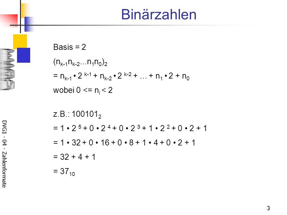 DVG1 - 04 - Zahlenformate 3 Binärzahlen Basis = 2 (n k-1 n k-2...n 1 n 0 ) 2 = n k-1 2 k-1 + n k-2 2 k-2 +...