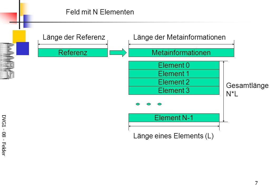 DVG1 - 08 - Felder 7 Feld mit N Elementen Element 0 Element 1 Element 2 Element 3 Element N-1 Länge eines Elements (L) Gesamtlänge N*L Referenz Länge der Referenz Metainformationen Länge der Metainformationen