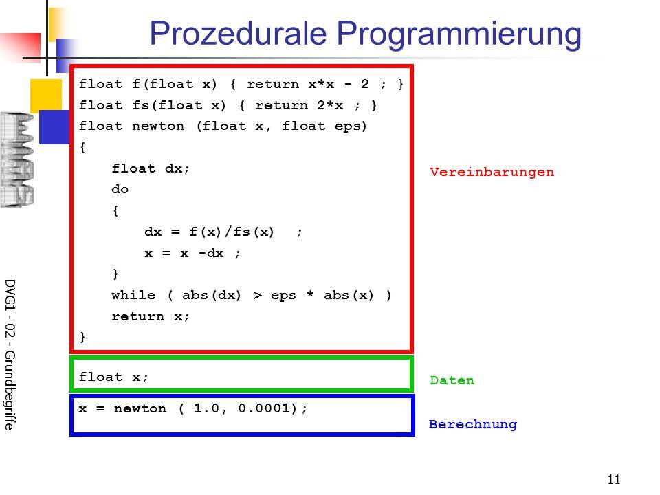 DVG1 - 02 - Grundbegriffe 11 Prozedurale Programmierung float f(float x) { return x*x - 2 ; } float fs(float x) { return 2*x ; } float newton (float x