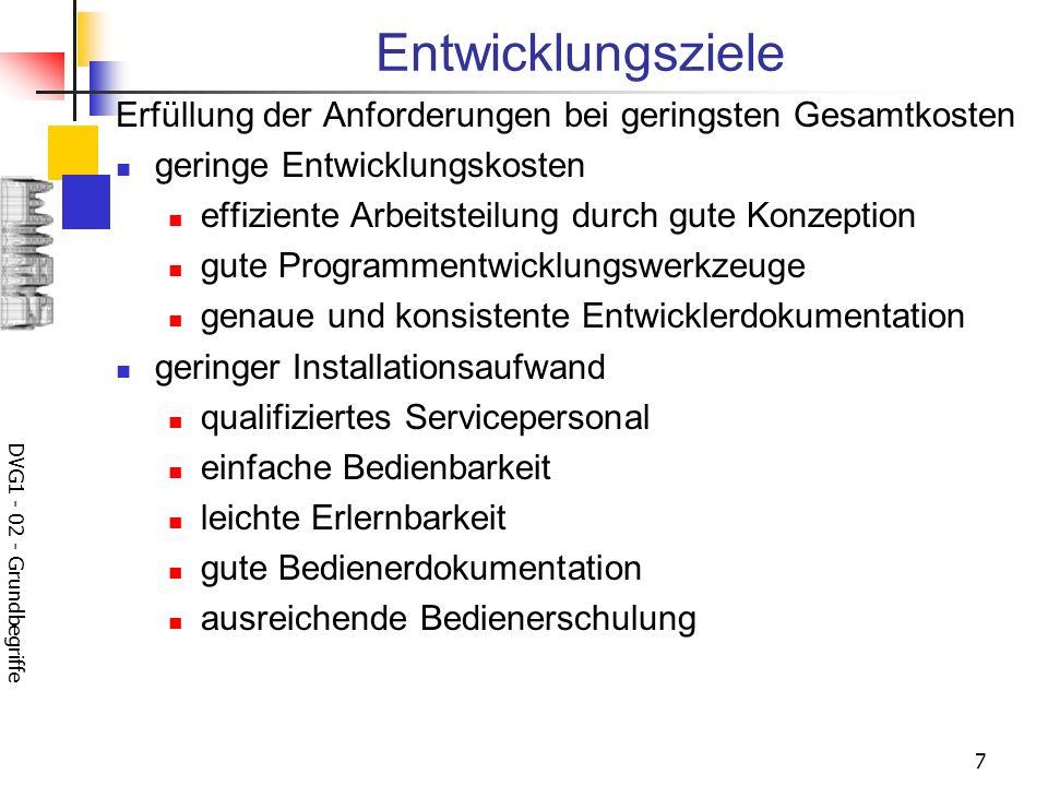 DVG1 - 02 - Grundbegriffe 8 geringer Einsatzaufwand effiziente Software gute Nutzerdokumentation ausreichende Nutzerschulung leichte Pflegbarkeit gute Dokumentation gut modifizierbar gut strukturierte Programme flexibel modularer Aufbau