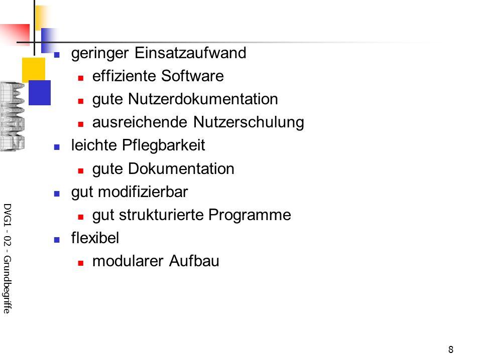 DVG1 - 02 - Grundbegriffe 8 geringer Einsatzaufwand effiziente Software gute Nutzerdokumentation ausreichende Nutzerschulung leichte Pflegbarkeit gute