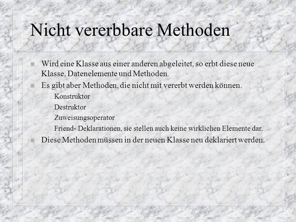 Nicht vererbbare Methoden n Wird eine Klasse aus einer anderen abgeleitet, so erbt diese neue Klasse, Datenelemente und Methoden. n Es gibt aber Metho