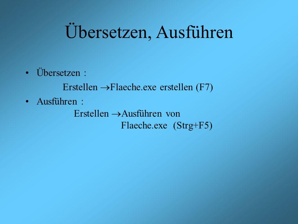 Übersetzen, Ausführen Übersetzen : Erstellen Flaeche.exe erstellen (F7) Ausführen : Erstellen Ausführen von Flaeche.exe (Strg+F5)