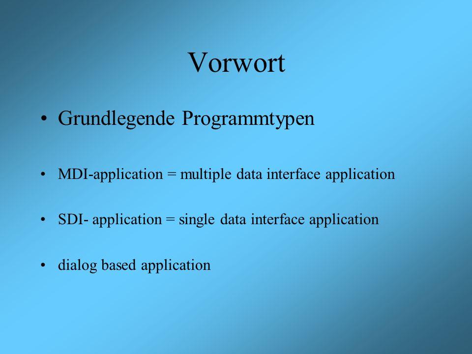 Vorwort Grundlegende Programmtypen MDI-application = multiple data interface application SDI- application = single data interface application dialog b