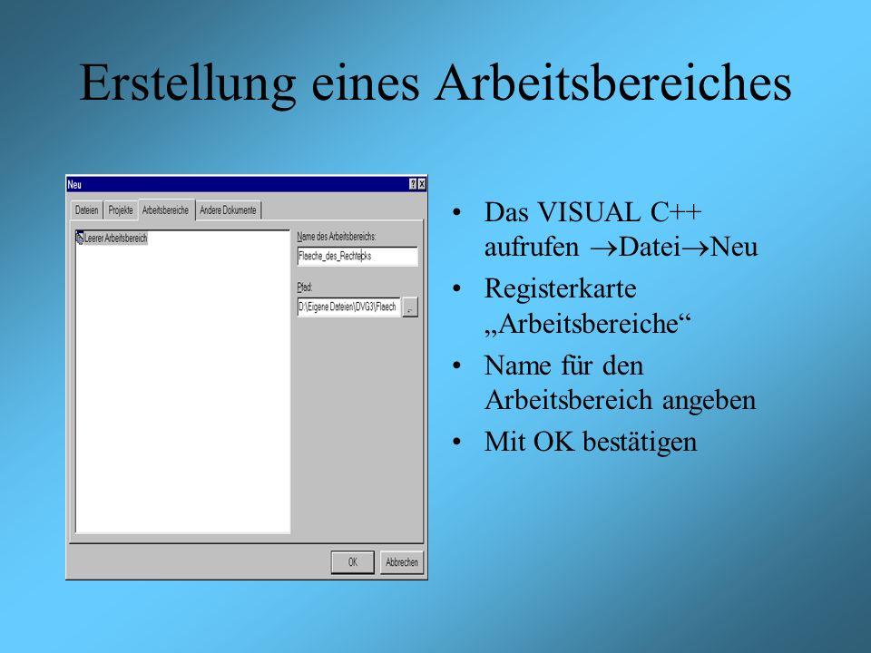 Erstellung eines Arbeitsbereiches Das VISUAL C++ aufrufen Datei Neu Registerkarte Arbeitsbereiche Name für den Arbeitsbereich angeben Mit OK bestätigen