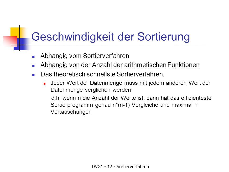 DVG1 - 12 - Sortierverfahren Geschwindigkeit der Sortierung Abhängig vom Sortierverfahren Abhängig von der Anzahl der arithmetischen Funktionen Das th